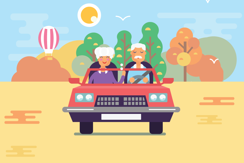cartoon photo of happy old couple driving together